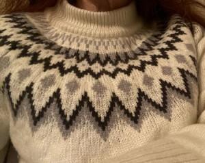 Grobstrick-Pullover mit Norwegermuster